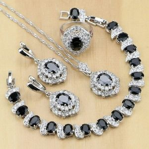 Elegant 4pc Black Topaz jewelry set